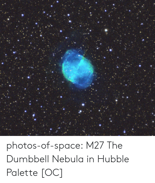 Tumblr, Blog, and Space: photos-of-space:  M27 The Dumbbell Nebula in Hubble Palette [OC]