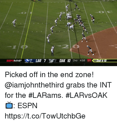 Espn, Memes, and 🤖: Picked off in the end zone!  @iamjohnthethird grabs the INT for the #LARams. #LARvsOAK  📺: ESPN https://t.co/TowUtchbGe