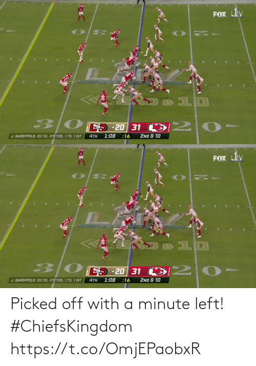 Picked: Picked off with a minute left! #ChiefsKingdom https://t.co/OmjEPaobxR