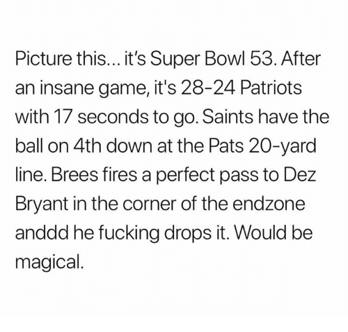 Dez Bryant, Fucking, and Nfl: Picture this... it's Super Bowl 53. After  an insane game, it's 28-24 Patriots  with 17 seconds to go. Saints have the  ball on 4th down at the Pats 20-yard  line. Brees fires a perfect pass to Dez  Bryant in the corner of the endzone  anddd he fucking drops it. Would be  magical