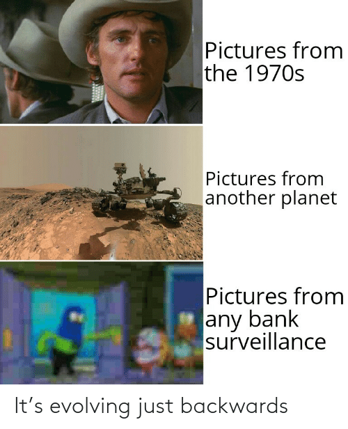 evolving: Pictures from  the 1970s  Pictures from  another planet  Pictures from  any bank  surveillance It's evolving just backwards