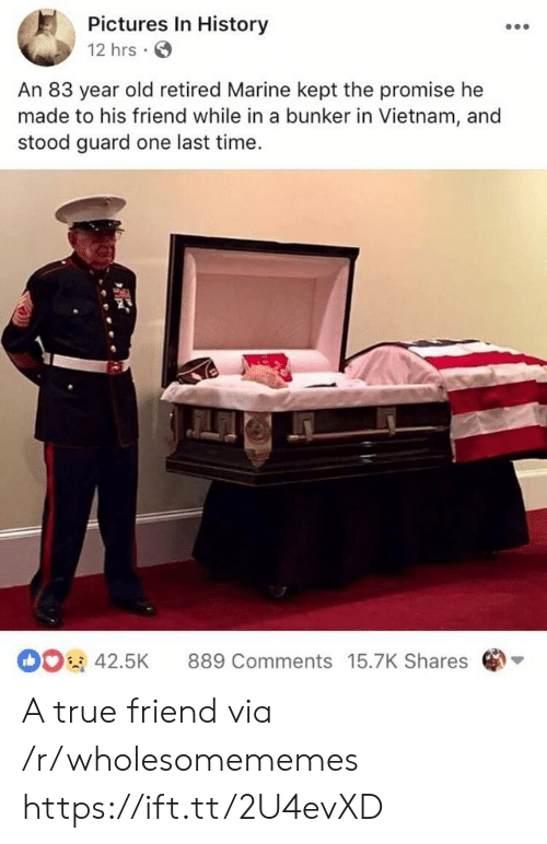 Retired: Pictures In History  12 hrs  An 83 year old retired Marine kept the promise he  made to his friend while in a bunker in Vietnam, and  stood guard one last time  42.5K 889 Comments 15.7K Shares A true friend via /r/wholesomememes https://ift.tt/2U4evXD