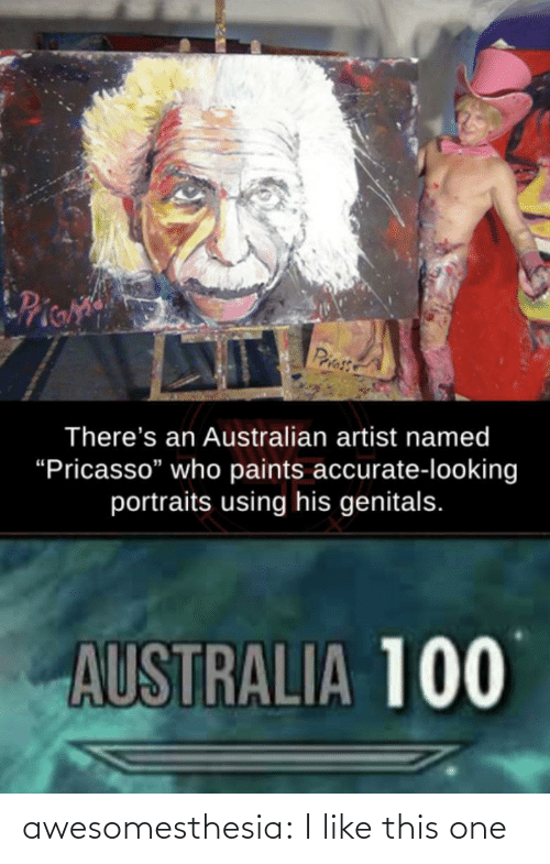 """Australian: Pie  Priess  There's an Australian artist named  """"Pricasso"""" who paints accurate-looking  portraits using his genitals.  AUSTRALIA 100 awesomesthesia:  I like this one"""