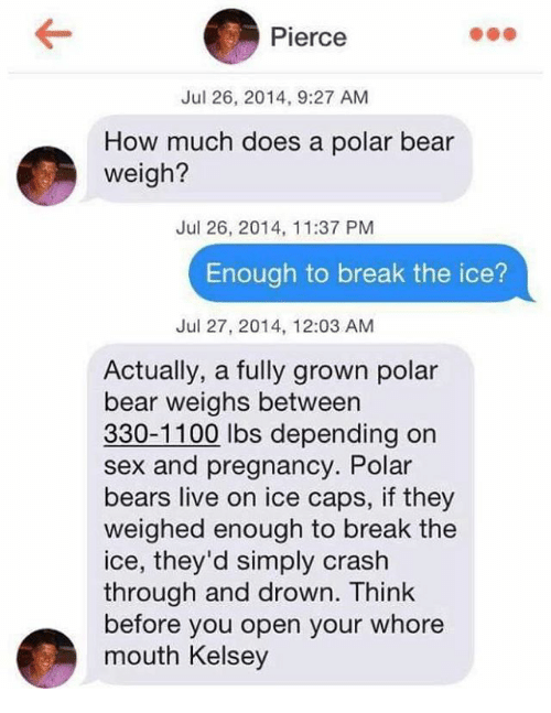 Whoring: Pierce  Jul 26, 2014, 9:27 AM  How much does a polar bear  weigh?  Jul 26, 2014, 11:37 PM  Enough to break the ice?  Jul 27, 2014, 12:03 AM  Actually, a fully grown polar  bear weighs between  330-1100 lbs depending on  sex and pregnancy. Polar  bears live on ice caps, if they  weighed enough to break the  ice, they'd simply crash  through and drown. Think  before you open your whore  mouth Kelsey