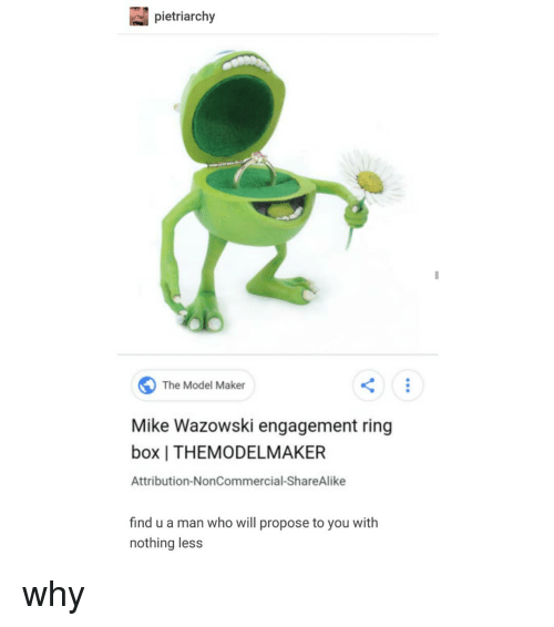 Trendy, Engagement Ring, and Box: pietriarchy  The Model Maker  Mike Wazowski engagement ring  box   THEMODELMAKER  Attribution-NonCommercial-ShareAlike  find u a man who will propose to you with  nothing less why