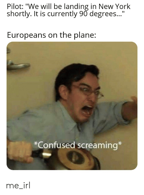 "pilot: Pilot: ""We will be landing in New York  shortly. It is currently 90 degrees...""  Europeans on the plane:  Confused screaming* me_irl"