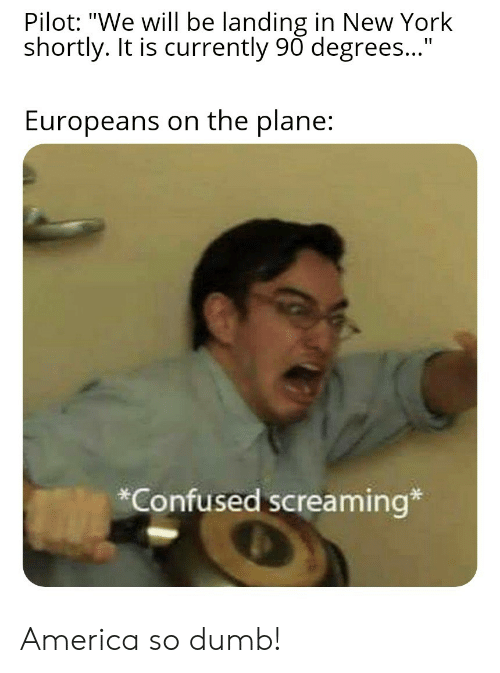 "pilot: Pilot: ""We will be landing in New York  shortly. It is currently 90 degrees...""  Europeans on the plane:  *Confused screaming* America so dumb!"