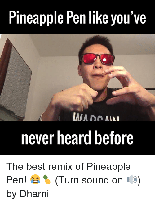 Pineapple Pen: Pineapple Pen like you've  IAIA no  AL  never heard before The best remix of Pineapple Pen! 😂🍍 (Turn sound on 🔊)  by Dharni