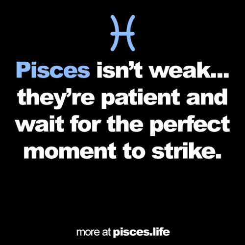 Pisces: Pisces isn't weak...  they're patient and  wait for the perfect  moment to strike.  more at pisces.life
