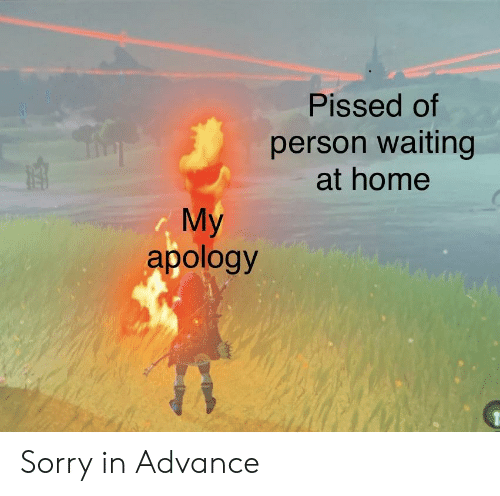Sorry, Home, and Dank Memes: Pissed of  person waiting  at home  My  apology Sorry in Advance