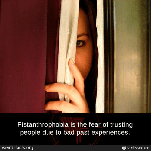 Bad, Facts, and Memes: Pistanthrophobia is the fear of trusting  people due to bad past experiences.  weird-facts.org  @factsweird