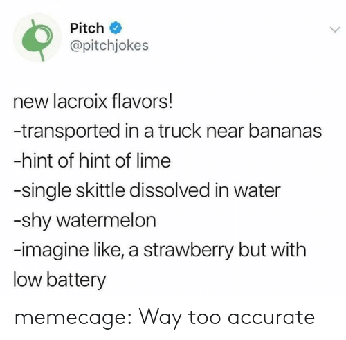 skittle: Pitch  @pitchjokes  new lacroix flavors!  -transported in a truck near bananas  -hint of hint of lime  -single skittle dissolved in water  -shy watermelon  -imagine like, a strawberry but with  low battery memecage:  Way too accurate