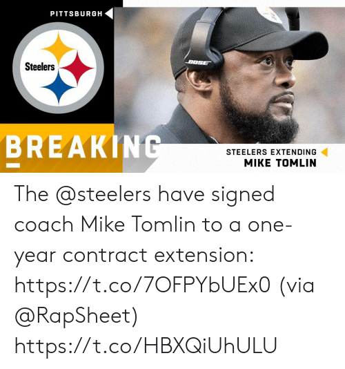 bose: PITTSBURGH  BOSE  Steelers  BREAKING  STEELERS EXTENDING The @steelers have signed coach Mike Tomlin to a one-year contract extension: https://t.co/7OFPYbUEx0 (via @RapSheet) https://t.co/HBXQiUhULU