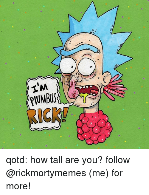 Memes, 🤖, and How: PIUMBUS  IC  ICK qotd: how tall are you? follow @rickmortymemes (me) for more!