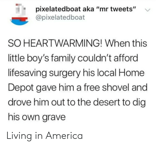 "aka: pixelatedboat aka ""mr tweets""  @pixelatedboat  SO HEARTWARMING! When this  little boy's family couldn't afford  lifesaving surgery his local Home  Depot gave him a free shovel and  drove him out to the desert to dig  his own grave Living in America"