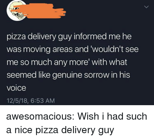 Pizza, Tumblr, and Blog: pizza delivery guy informed me he  was moving areas and 'wouldn't see  me so much any more' with what  seemed like genuine sorrow in his  voice  12/5/18, 6:53 AM awesomacious:  Wish i had such a nice pizza delivery guy