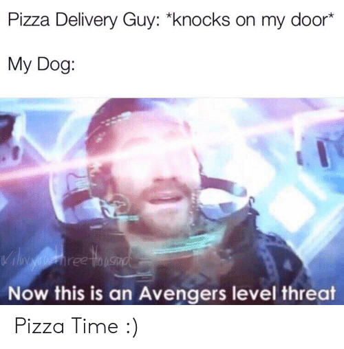 """Pizza, Avengers, and Time: Pizza Delivery Guy: """"knocks on my door*  My Dog:  Vil aiehree tinusad  Now this is an Avengers level threat Pizza Time :)"""