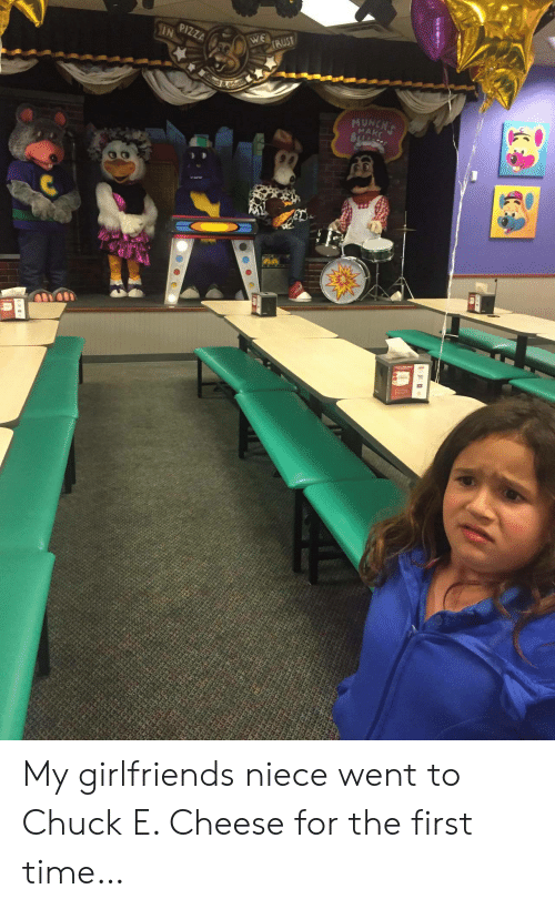 Chuck E Cheese, Pizza, and Time: PIZZA  IN  WE  IRUST  MUNCHT  MAKE My girlfriends niece went to Chuck E. Cheese for the first time…