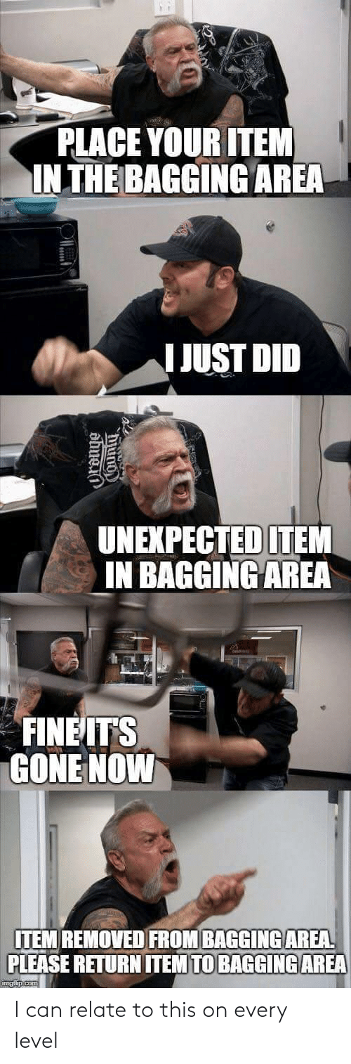 Gone, Can, and Did: PLACE YOUR ITEM  INTHE BAGGING AREA  I JUST DID  UNEXPECTED ITEM  IN BAGGINGAREA  FINEITS  GONE NOVW  ITEM REMOVED FROM BAGGINGAREA  PLEASE RETURN ITEMTO BAGGİNG AREA I can relate to this on every level