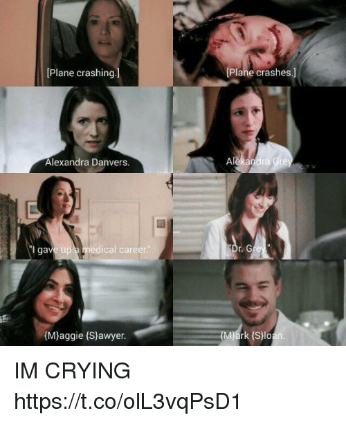 sloan: [Plane crashing]  Plane crashes.]  Alexandra Danvers  Alexandra Gre  l gav  e up a medical career  re  (Mjaggie (Sjawyer.  rk (Sloan IM CRYING https://t.co/olL3vqPsD1
