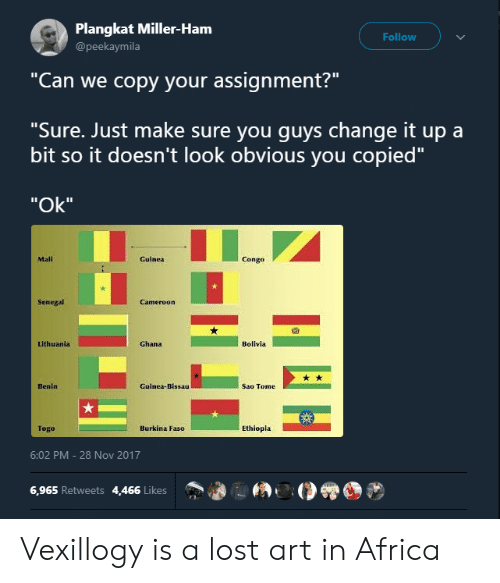 """Africa, Lost, and Ghana: Plangkat Miller-Ham  @peekaymila  Follow  """"Can we copy your assignment?""""  """"Sure. Just make sure you quvs change it up a  bit so it doesn't look obvious you copied""""  """"Ok""""  Mali  Guinea  Congo  Senegal  囧  Lithuania  Ghana  Bolivla  Benin  Guinea-Bissau  Sao Tome  Togo  Burkina Faso  Ethiopla  6:02 PM-28 Nov 2017  6,965 Retweets 4,466 Likes Vexillogy is a lost art in Africa"""