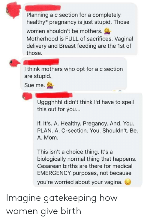 cesarean: Planning a c section for a completely  healthy* pregnancy is just stupid. Those  women shouldn't be mothers.  Motherhood is FULL of sacrifices. Vaginal  delivery and Breast feeding are the 1st of  those.  I think mothers who opt for a c section  are stupid.  Sue me.  Uggghhhl didn't think I'd have to spell  this out for you...  If. It's. A. Healthy. Pregancy. And. You.  PLAN. A. C-section. You. Shouldn't. Be  A. Mom  This isn't a choice thing. It's a  biologically normal thing that happens.  Cesarean births are there for medical  EMERGENCY purposes, not because  you're worried about your vagina. Imagine gatekeeping how women give birth