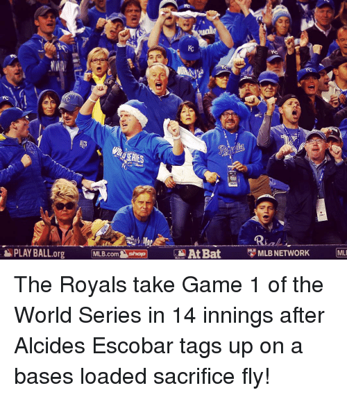 Mlb, Sports, and Ups: PLAY BALL org  MLB.com  Sshop At Bat  MLB NETWORK (MLI The Royals take Game 1 of the World Series in 14 innings after Alcides Escobar tags up on a bases loaded sacrifice fly!