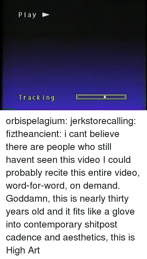 Glove: Play  Tracking orbispelagium: jerkstorecalling:  fiztheancient:  i cant believe there are people who still havent seen this video  I could probably recite this entire video, word-for-word, on demand.   Goddamn, this is nearly thirty years old and it fits like a glove into contemporary shitpost cadence and aesthetics, this is High Art