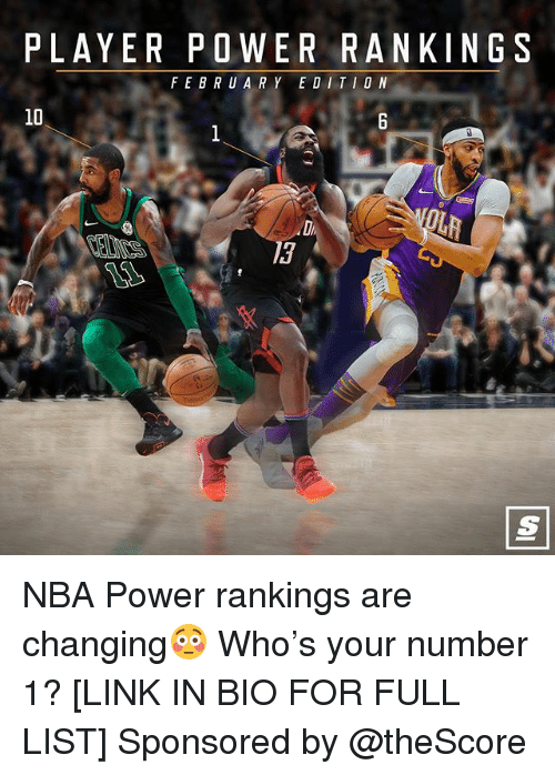 rankings: PLAYER POWER RANKINGS  FEBRUARY EDITIO N  10  13 NBA Power rankings are changing😳 Who's your number 1? [LINK IN BIO FOR FULL LIST] Sponsored by @theScore