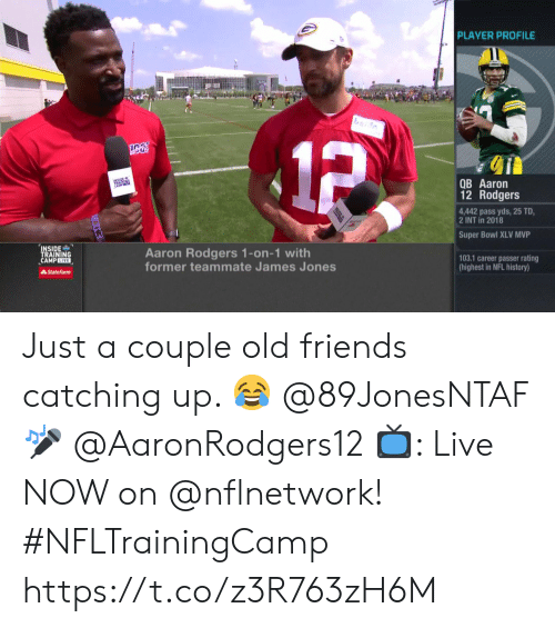 Passer: PLAYER PROFILE  1P  QB Aaron  12 Rodgers  4,442 pass yds, 25 TD  2 INT in 2018  Super Bowl XLV MVP  INSIDE  TRAINING  CAMPLIVE  Aaron Rodgers 1-on-1 with  former teammate James Jones  103.1 career passer rating  (highest in NFL history)  State Farm Just a couple old friends catching up. 😂  @89JonesNTAF 🎤 @AaronRodgers12   📺: Live NOW on @nflnetwork! #NFLTrainingCamp https://t.co/z3R763zH6M