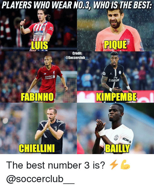 Memes, Best, and 🤖: PLAYERS WHO WEAR NO.3, WHO1S THE BEST  Trade  lu  iuis  PIQUE  Credit:  @Soccerclub  Standard  Chartered  Fly  Emira  FABINHO rT  KIMPEMBE  CHIELLIN  BAILLY The best number 3 is? ⚡️💪 @soccerclub__