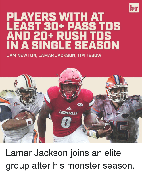 Tebowing: PLAYERS WITH AT  LEAST 30+ PASS TDS  AND 20+ RUSH TDS  IN A SINGLE SEASON  CAM NEWTON, LAMAR JACKSON, TIM TEBOW  ACC  AUBURN  aaalas  LOUISVILLE  br Lamar Jackson joins an elite group after his monster season.