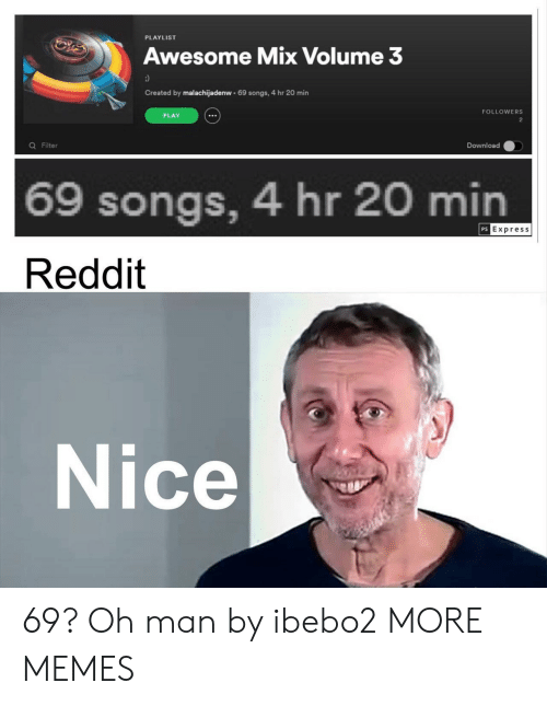 filter: PLAYLIST  Awesome Mix Volume 3  Created by malachijadenw 69 songs, 4 hr 20 min  FOLLOWERS  PLAY  2  Q Filter  Download  69 songs, 4 hr 20 min  PS Express  Reddit  Nice 69? Oh man by ibebo2 MORE MEMES
