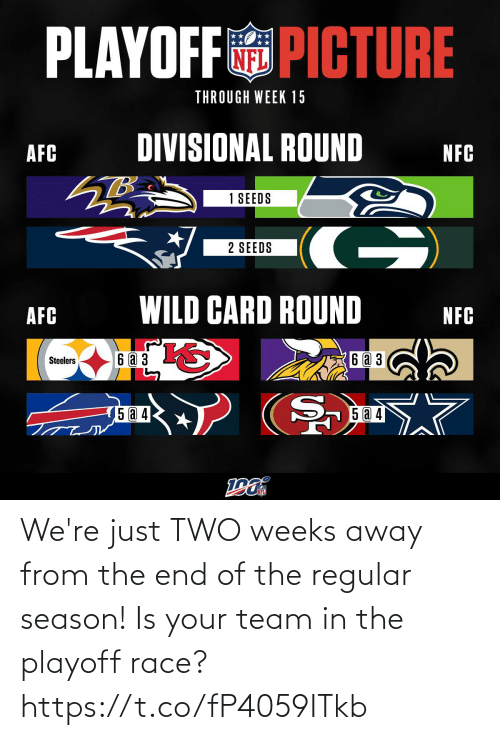 afc: PLAYOFF PICTURE  THROUGH WEEK 15  DIVISIONAL ROUND  AFC  NFC  1 SEEDS  G)  2 SEEDS  WILD CARD ROUND  AFC  NFC  6аз  6 a 3  Steelers  5 a 4  15 @ 4 We're just TWO weeks away from the end of the regular season! Is your team in the playoff race? https://t.co/fP4059ITkb