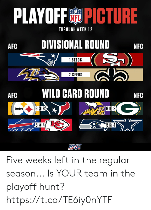 Steelers: PLAYOFFPICTURE  THROUGH WEEK 12  DIVISIONAL ROUND  AFC  NFC  (S)  1 SEEDS  2 SEEDS  WILD CARD ROUND  AFC  NFC  G  6a 3  6 a 3  Steelers  5a 4 Five weeks left in the regular season...  Is YOUR team in the playoff hunt? https://t.co/TE6iy0nYTF