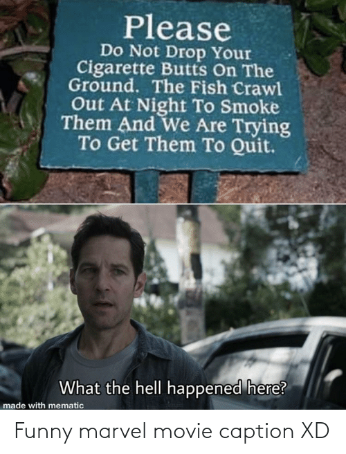 Funny Marvel: Please  Do Not Drop Your  Cigarette Butts On The  Ground. The Fish Crawl  Out At Night To Smoke  Them And We Are Trying  To Get Them To Quit.  What the hell happened here?  made with mematic Funny marvel movie caption XD