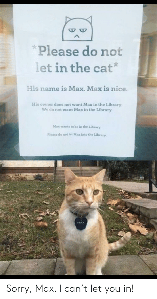 do-not-want: Please do not  let in the cat*  His name is Max. Max is nice.  His owner does not want Max in the Library  We do not want Max in the Library  Max wants to be in the Library  Please do not let Max into the Library  MAX Sorry, Max. I can't let you in!