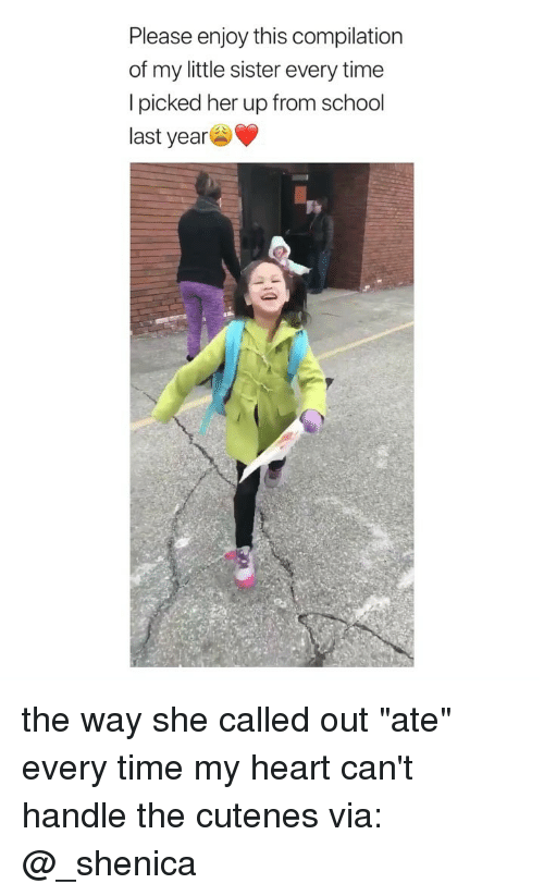 """compilation: Please enjoy this compilation  of my little sister every time  I picked her up from school  last year the way she called out """"ate"""" every time my heart can't handle the cutenes via: @_shenica"""