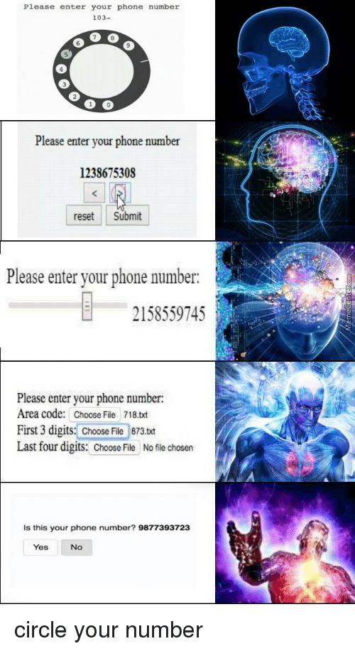 Enter Your Phone Number: Please enter your phone number  103-  6  9  5  3  0  Please enter your phone number  1238675308  reset Submit  Please enter your phone number.  2158559745  Please enter your phone number:  Area code: Choose File 718.txt  First 3 digits: Choose File 873.txt  Last four digits: Chooile No file chosen  Is this your phone number? 9877393723  Yes  No circle your number