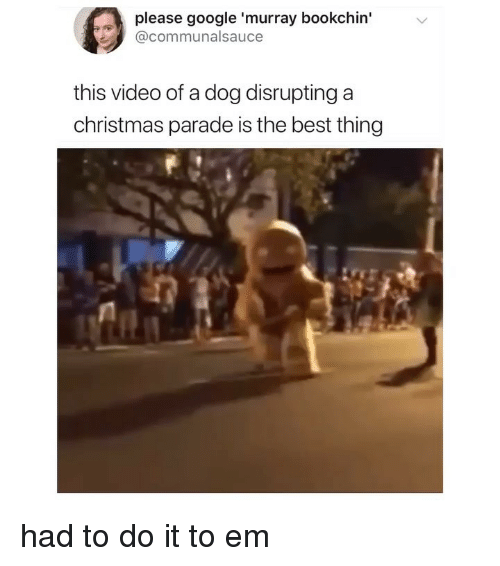 Christmas, Google, and Memes: please google 'murray bookchin'  @communalsauce  this video of a dog disrupting a  christmas parade is the best thing had to do it to em