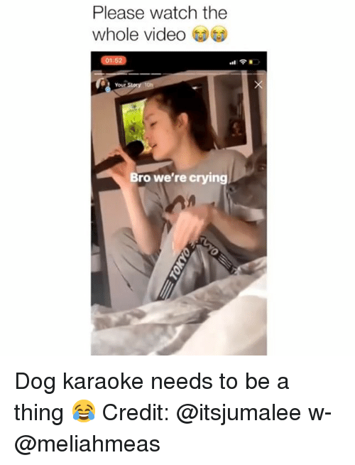 Karaoke: Please watch the  whole video  01:52  Your  Bro we're crying Dog karaoke needs to be a thing 😂 Credit: @itsjumalee w- @meliahmeas