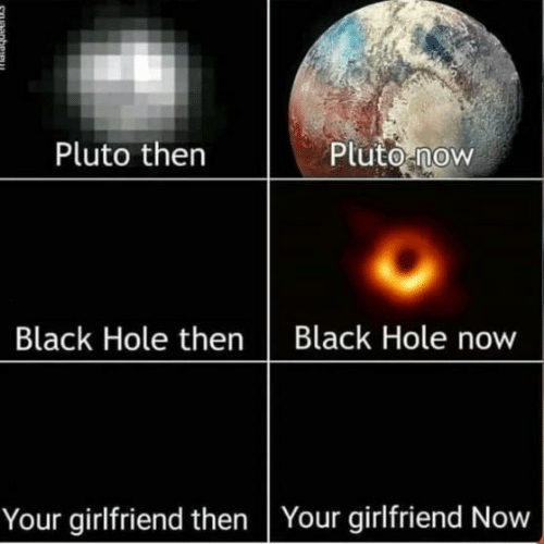 Now Your: Pluto then  Pluto now  Black Hole thenBlack Hole now  Your girlfriend then Your girlfriend Now