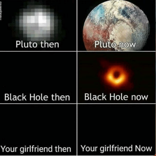 Now Your: Pluto thern  Pluto now  Black Hole thenBlack Hole now  Your girlfriend then Your girlfriend Now