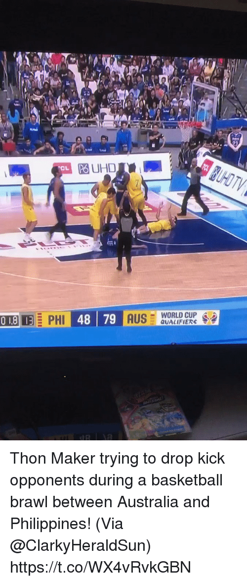 World Cup Qualifiers: PO UHD  OL  -WORLD CUP .  QUALIFIERS Thon Maker trying to drop kick opponents during a basketball brawl between Australia and Philippines!   (Via @ClarkyHeraldSun)   https://t.co/WX4vRvkGBN