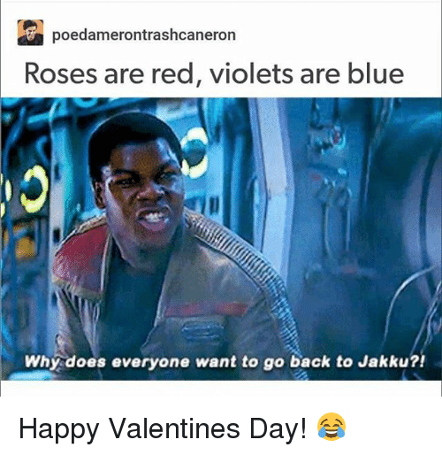 Jakku: poedamerontrashcaneron  Roses are red, violets are blue  Why does everyone want to go back to Jakku?! Happy Valentines Day! 😂
