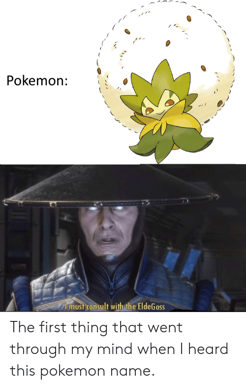 Pokemon Name: Pokemon:  Imust consult with the EldeGoss The first thing that went through my mind when I heard this pokemon name.