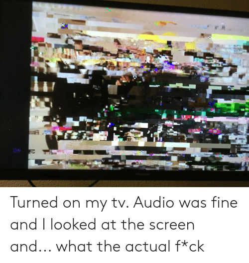 What The Actual F: POL Turned on my tv. Audio was fine and I looked at the screen and... what the actual f*ck