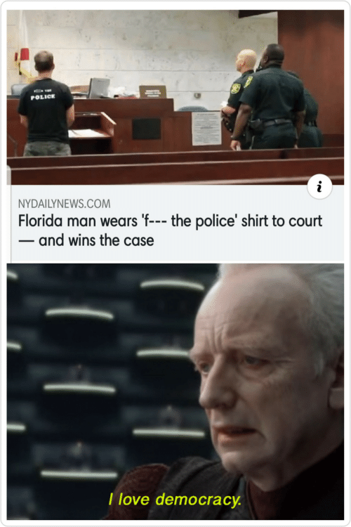 the police: POLICE  NYDAILYNEWS.COM  Florida man wears 'f--- the police' shirt to court  - and wins the case  I love democracy.