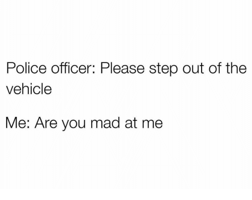 Funny, Police, and Mad: Police officer: Please step out of the  vehicle  Me: Are you mad at me
