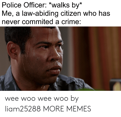 police officer: Police Officer: *walks by*  Me, a law-abiding citizen who has  never commited a crime: wee woo wee woo by liam25288 MORE MEMES